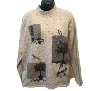 TanJay Grandmacore Dog Embroidered Knit Sweater
